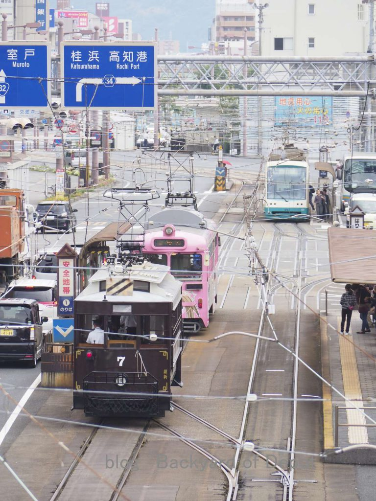 ハートラムと顔を合わせる維新号 / Heritage tram meets Low-floor tram. It's just like a grandfather and grandson...
