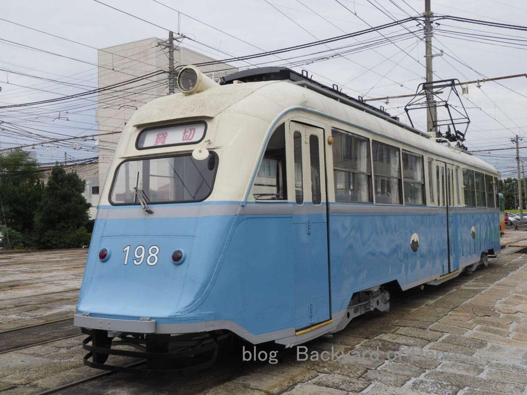 オスロ塗装に戻された198号 / ex-Oslo tram No.198 at Sambashi depot